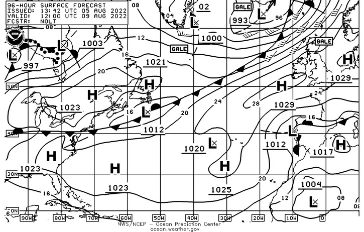 Current North Atlantic Synoptic Weather Chart